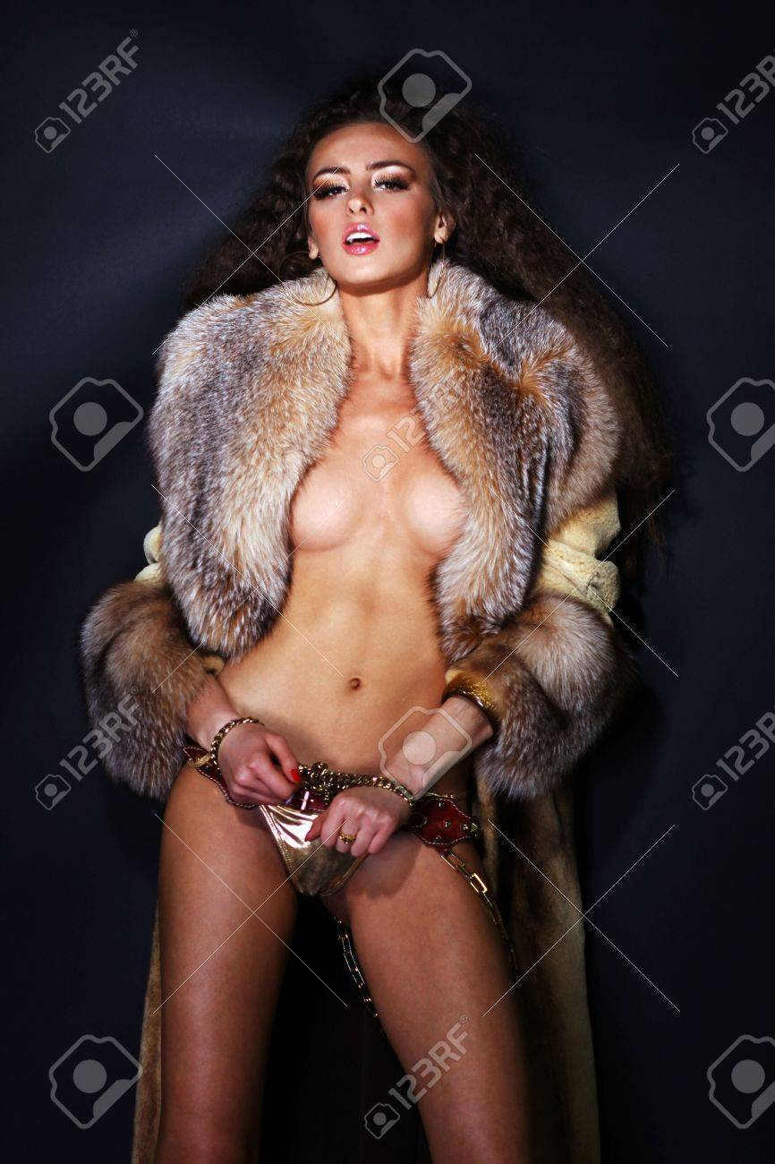 Sexual model in a fur coat Stock Photo - 6106430