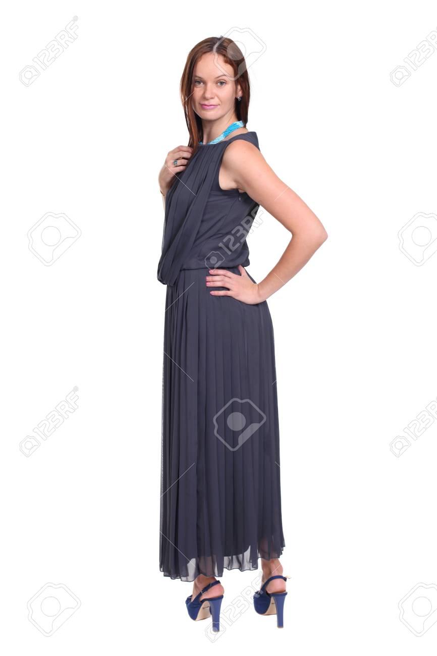 Longitud Total De Una Hermosa Dama Joven En El Vestido Fotos ...
