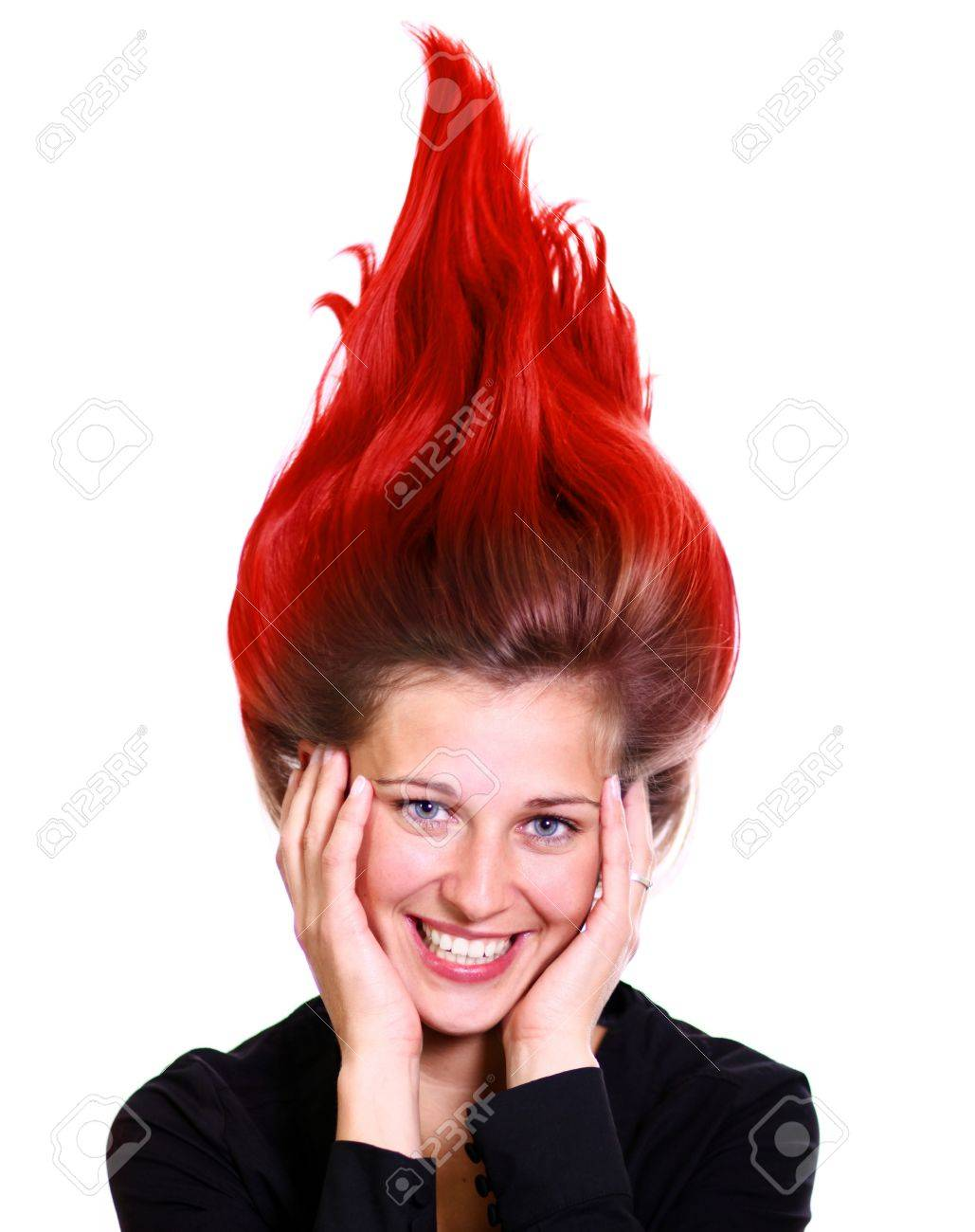 Happy young woman, beautiful hair Stock Photo - 18953977