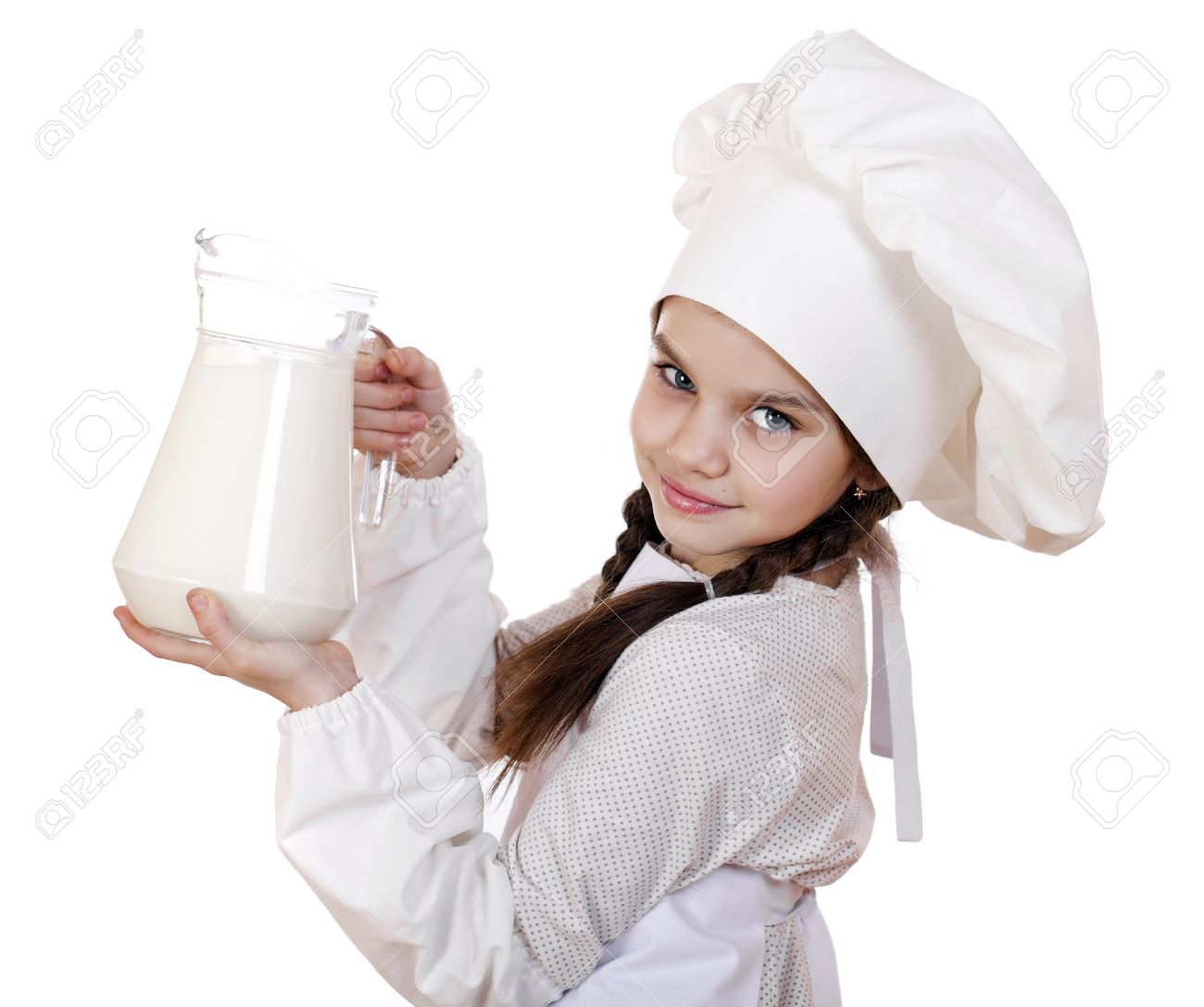 White apron girl - Cooking And People Concept Little Girl In A White Apron Holding A Jug Of Milk