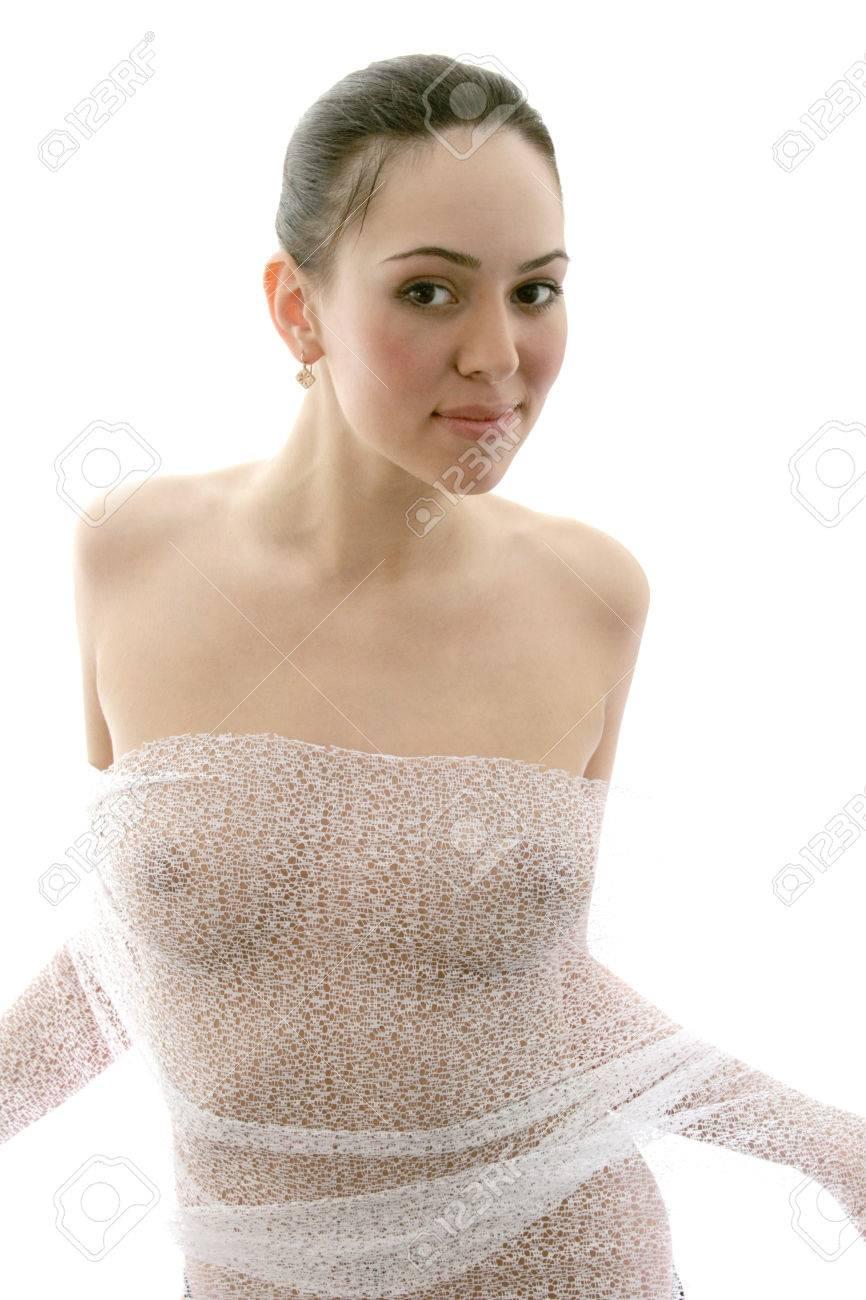 promo codes discount shop new appearance Jeune femme brune sexy, Anonyme nu de jeune fille silhouette derrière tissu  de pure
