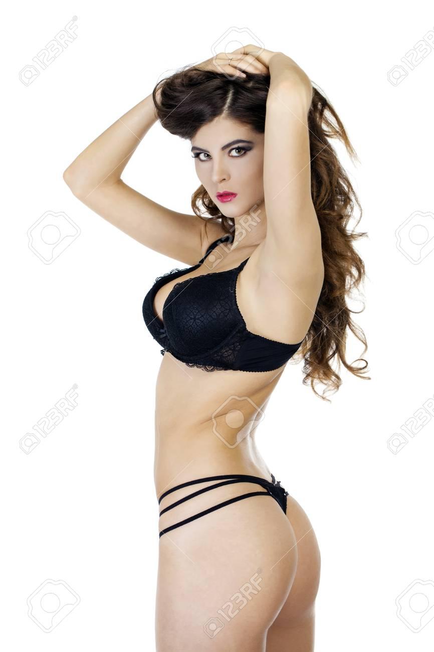Portrait Dune Femme Sexy En Sous Vêtements Noirs Sur Blanc Isolé