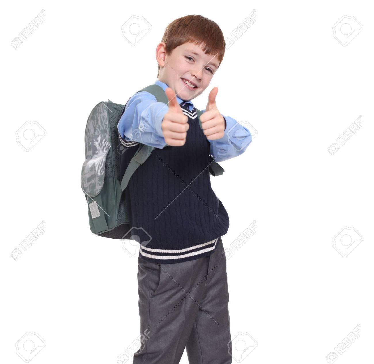 Ecolier portrait d'un écolier isolé sur fond blanc banque d'images et photos