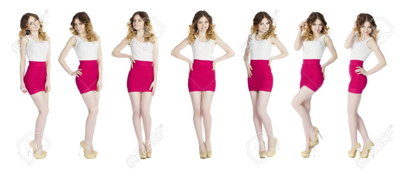 005bb9db1 Las pruebas de modelos, mujeres delgadas jóvenes posando en la falda corta  de color rojo, aislado en blanco
