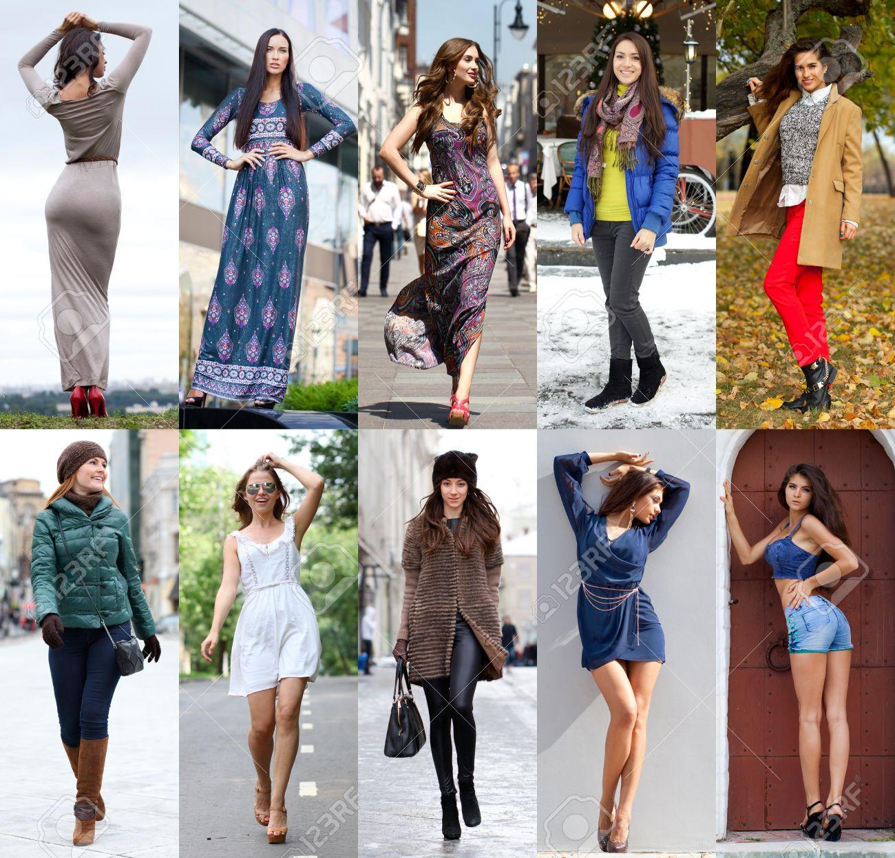 collage de diez diferentes modelos en ropa de moda para la temporada al aire libre