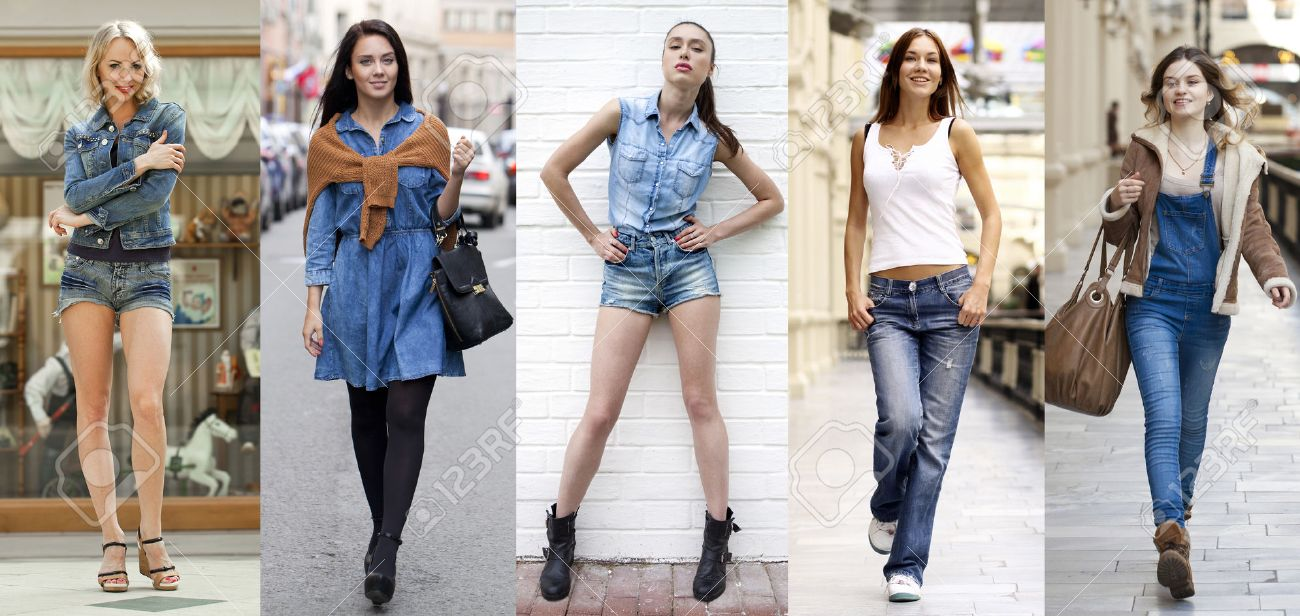 Collage Jeans Fashion. Portrait in full growth the young beautiful girls in blue jeans Stock Photo - 51210988