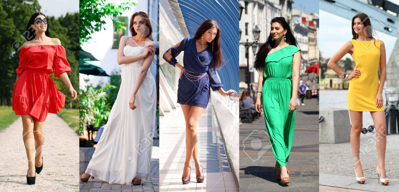 d219f9a29dc4 Collage Of Five Beautiful Models In Colored Summer Dresses