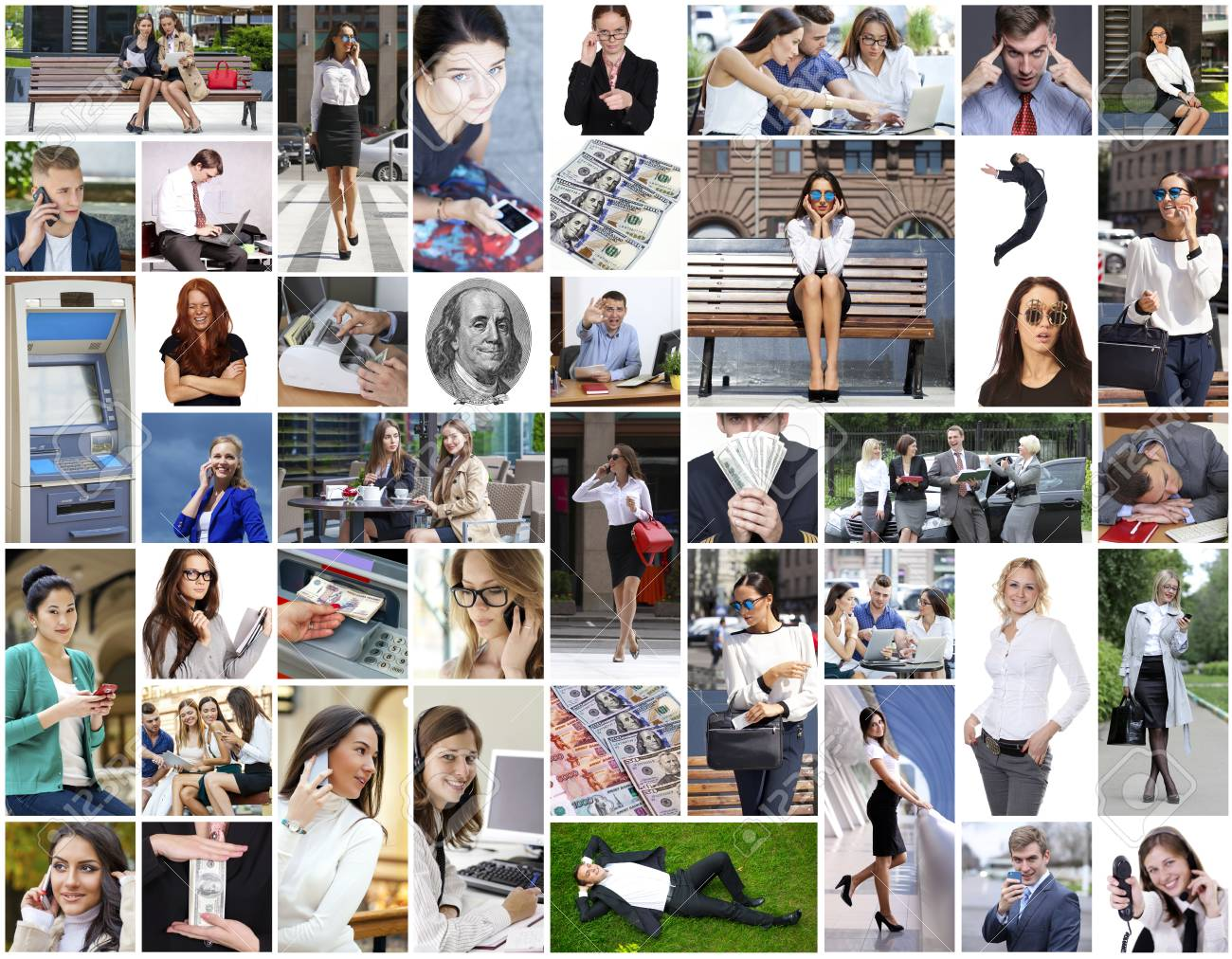 Collage Del Asunto Hecho De Muchas Imágenes Diferentes Sobre Las ...