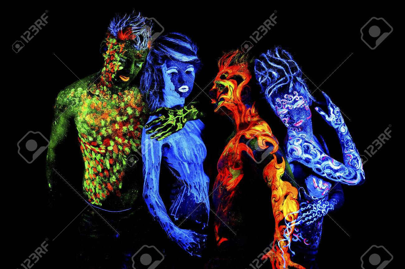 Four Elements Art : Four elements. body art glowing in ultraviolet light isolated