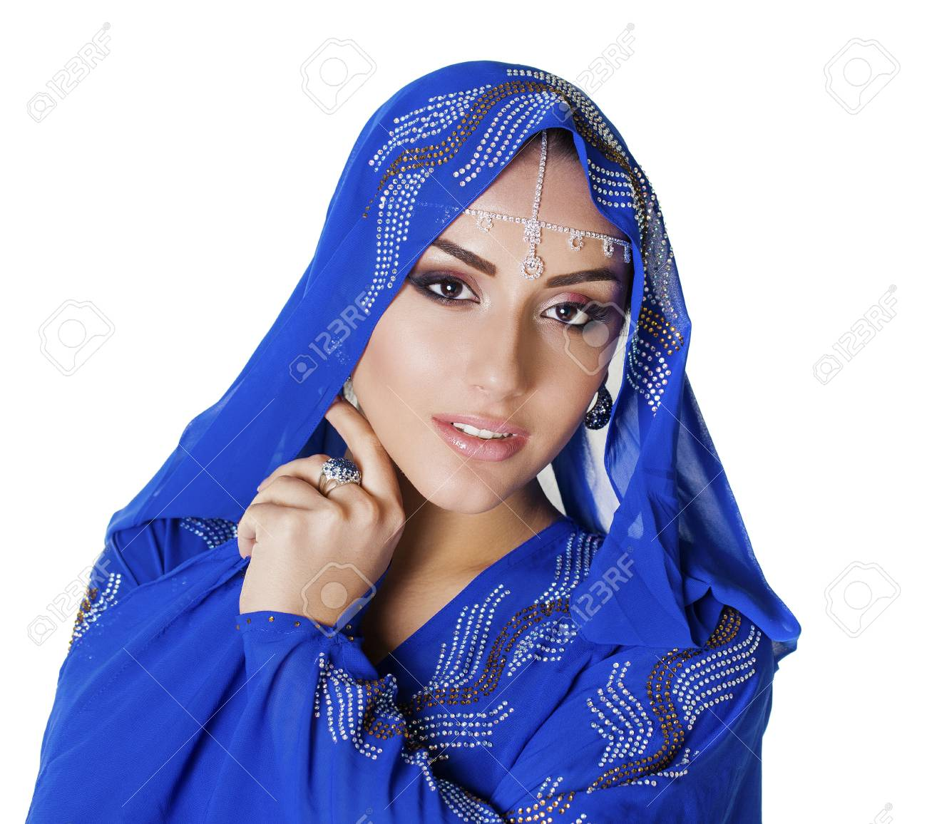 0bd283af88 Stock Photo - Young traditional Asian Indian woman in indian blue sari,  isolated on white background