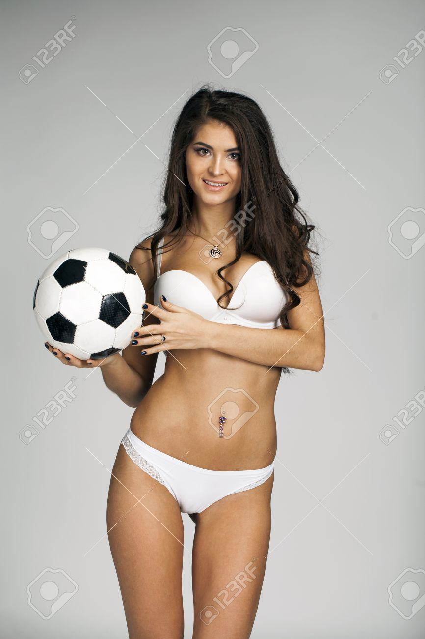 Sexy Womens Soccer Young Sexy Brunette Woman In White Underwear