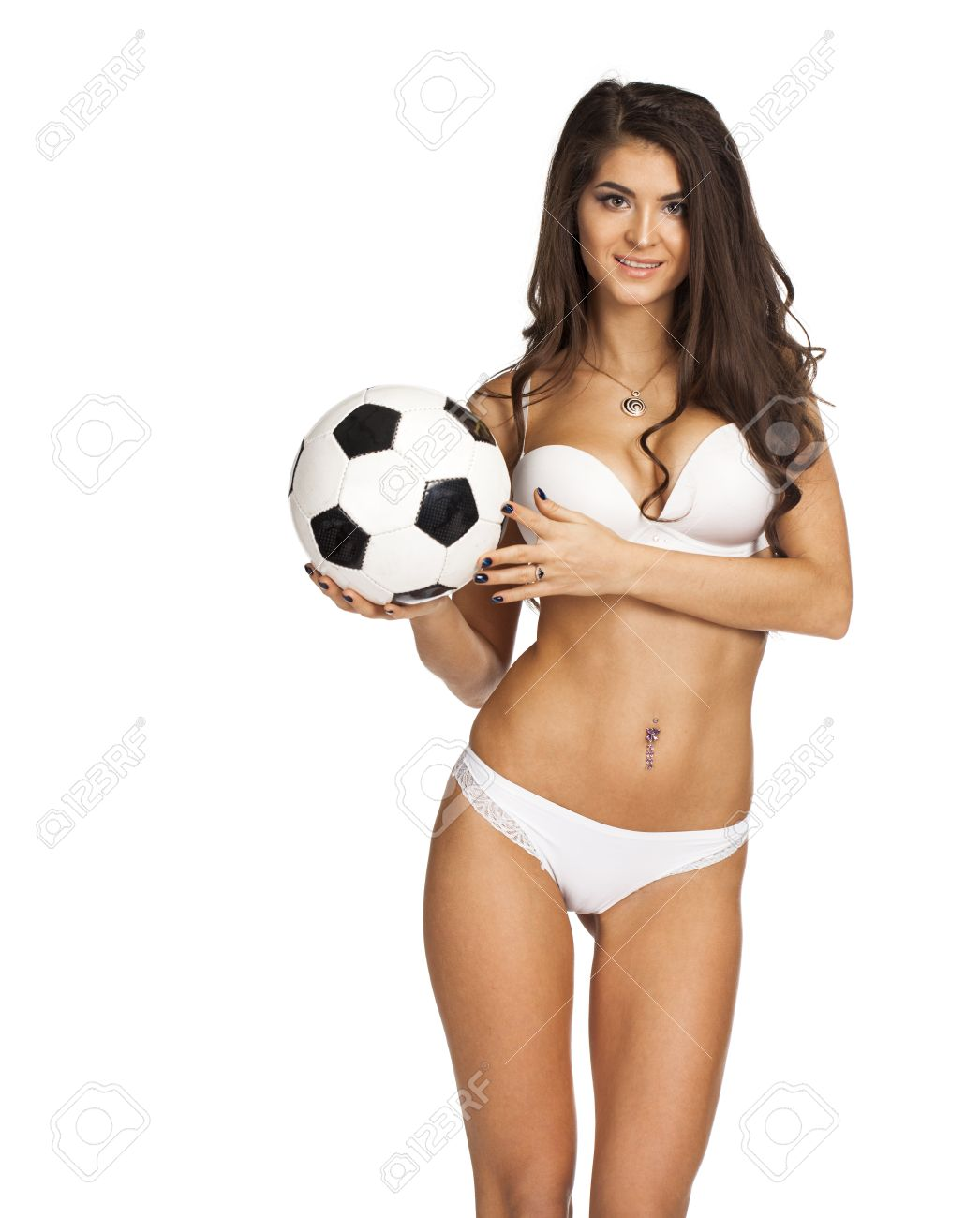 Sexy Womens Soccer Young Sexy Brunette Woman In White Underwear Isolated On White Background