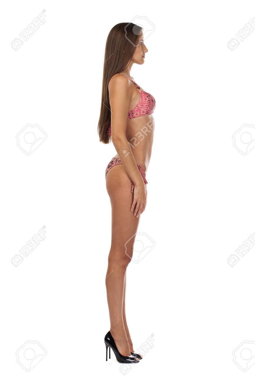 Mujer Que De Lleva En RosaAislado Entero Bikini PresiónRetrato Verano Modelo Una Broche Cuerpo BlancoConcepto Vacaciones Y Joven 5R4cALqSj3