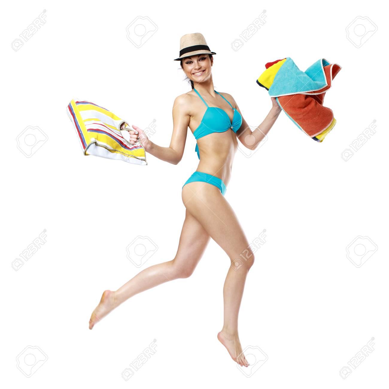 En Hermosa Toalla Con Turquesa PlayaAislado Traje Fondo De Mujer Baño Blanco Morena rxWdEQeBCo