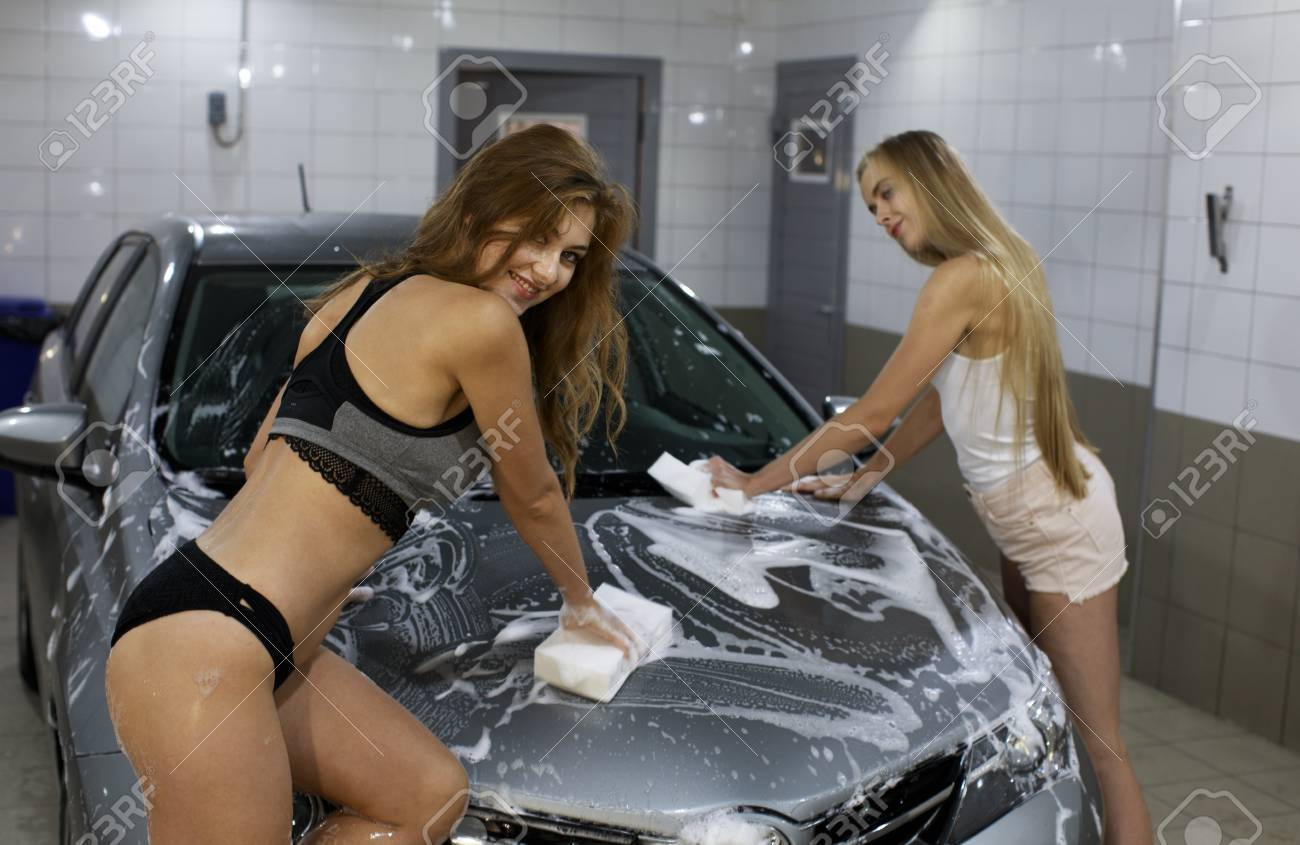 Car Wash Close Up Two Sexy Women Washes Car Stock Photo Picture