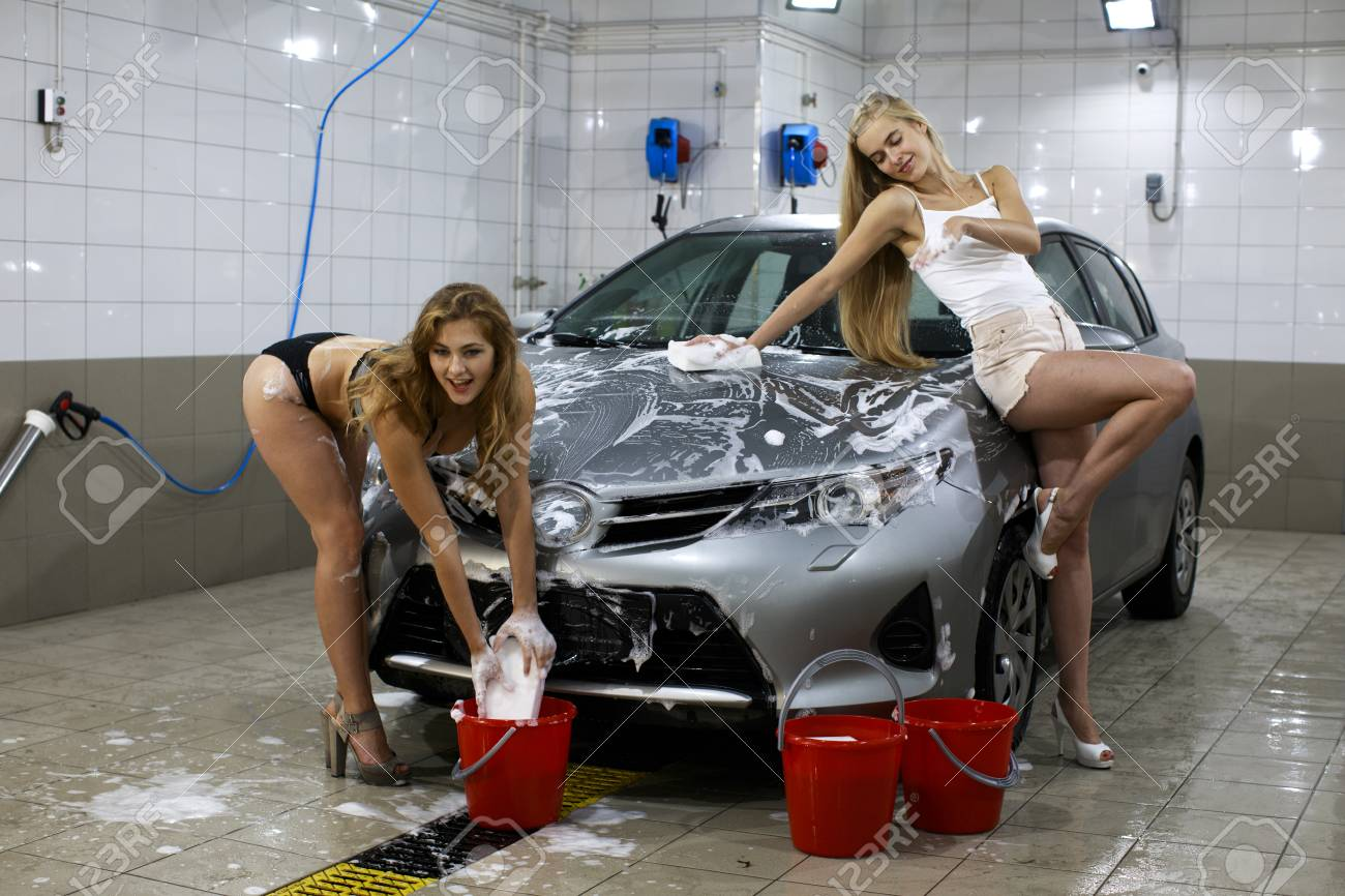 Car Wash Two Sexy Women Washes Car Stock Photo Picture And