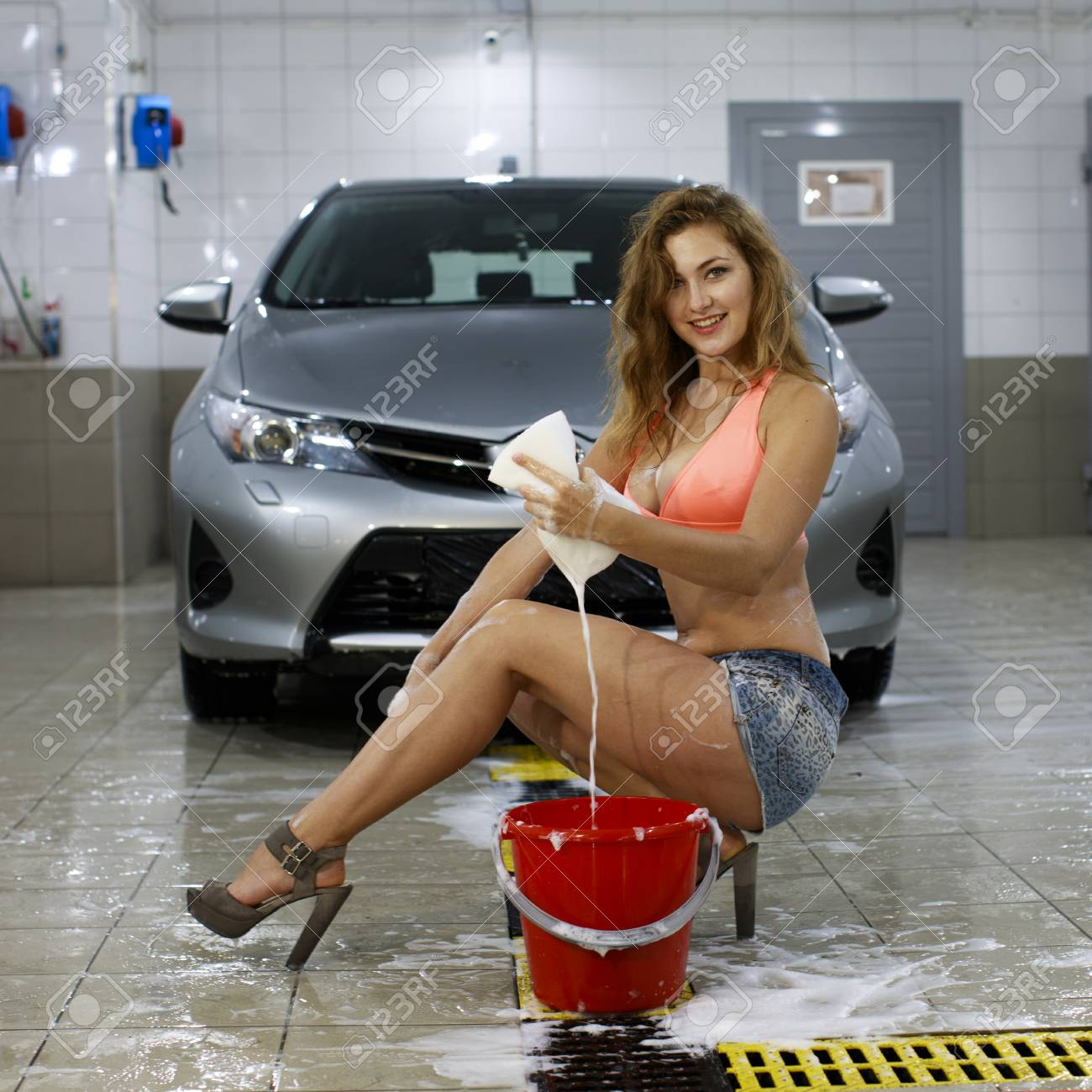 Car Wash Young Sexy Woman Washes Car Stock Photo Picture And
