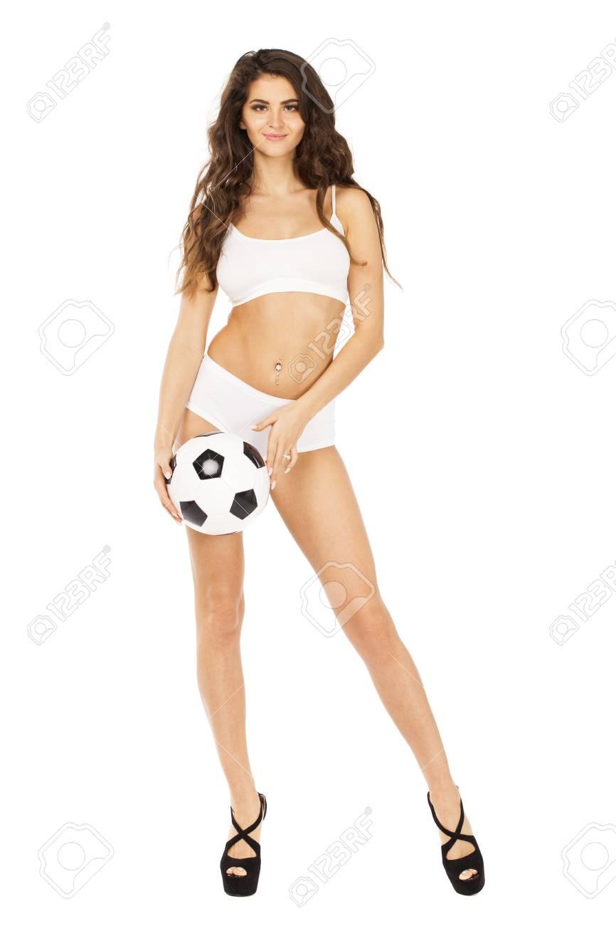 Isolé Vêtements La Toute Sport Portrait Fond Sur Longueur Brune De En Blanc AlimentairePerte Jeune BlancSportFitnessRégime Femme Yb6fgvy7