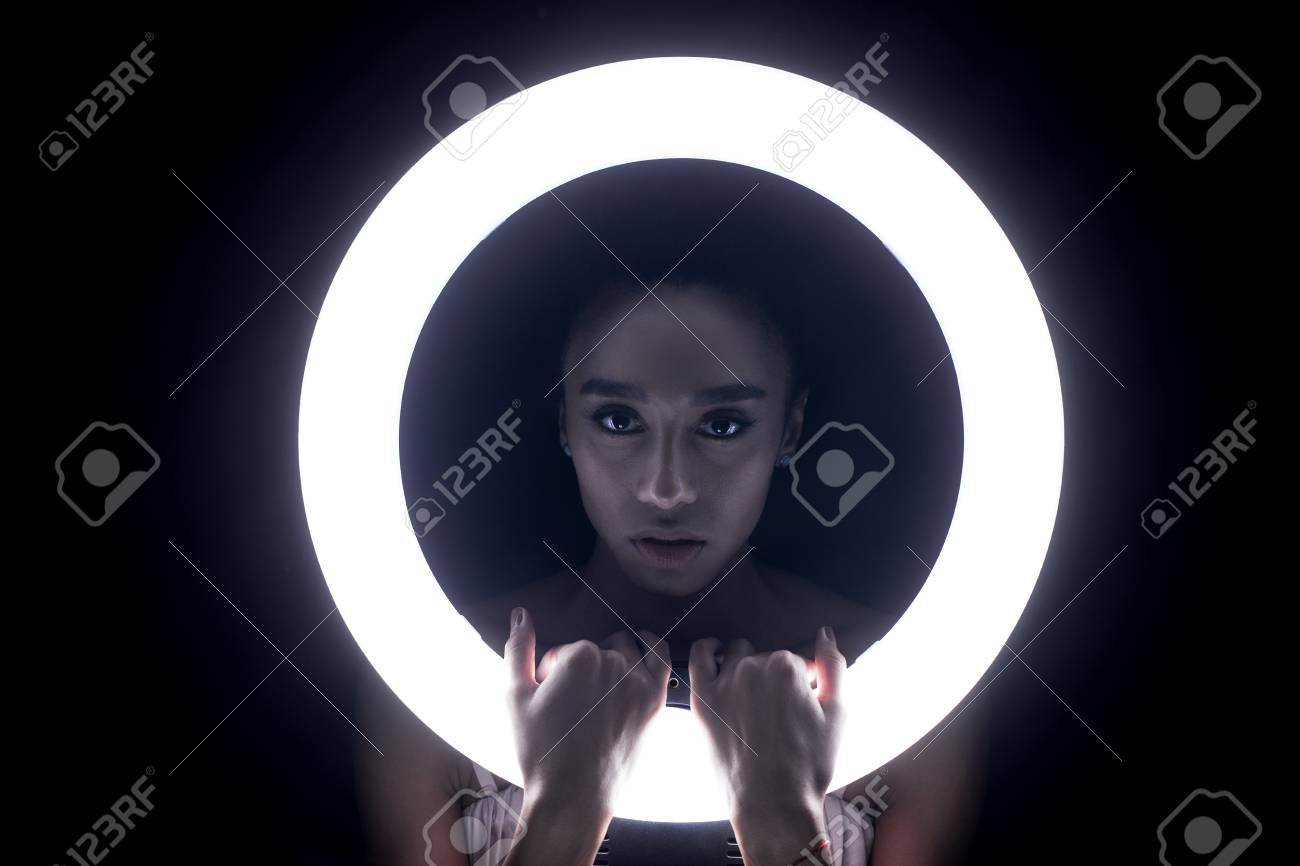 Portrait Young African Woman With Ring Flash Effect Round Led Stock Photo Picture And Royalty Free Image Image 94695011