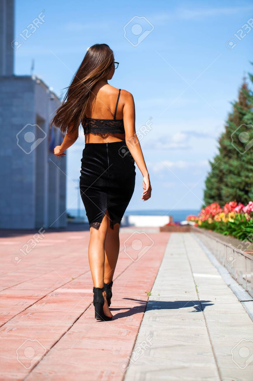 Full Body Portrait Sexy Woman Walking In Summer Street Beautiful Stock Photo Picture And Royalty Free Image Image 129072190