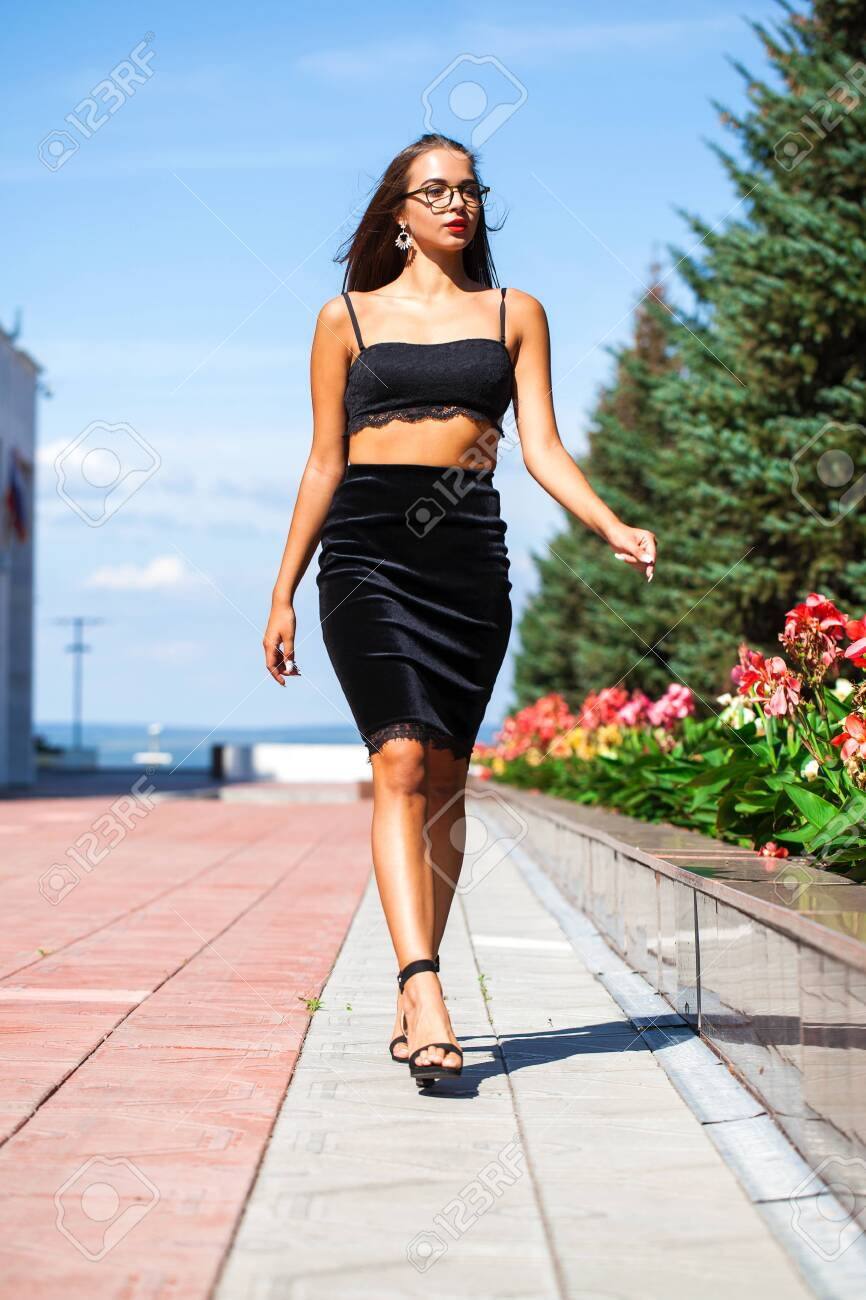 Full Body Portrait Sexy Woman Walking In Summer Street Beautiful Stock Photo Picture And Royalty Free Image Image 129072285