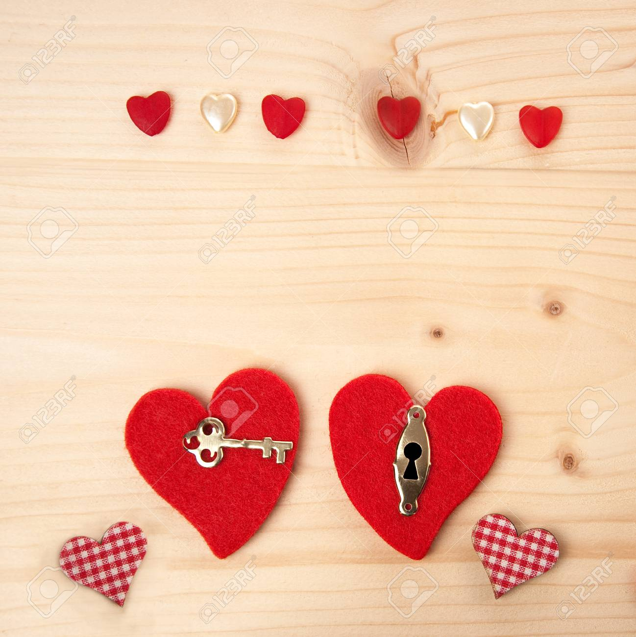 Invitation Card For Wedding Party With Two Red Hearts, Key And ...