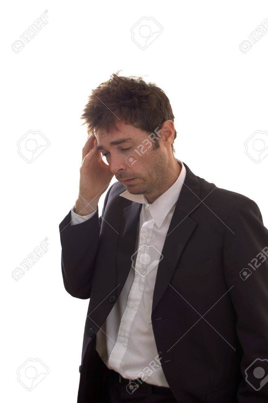 a unkempt business man sucumbing to the stress of the gfc Stock Photo - 5140596