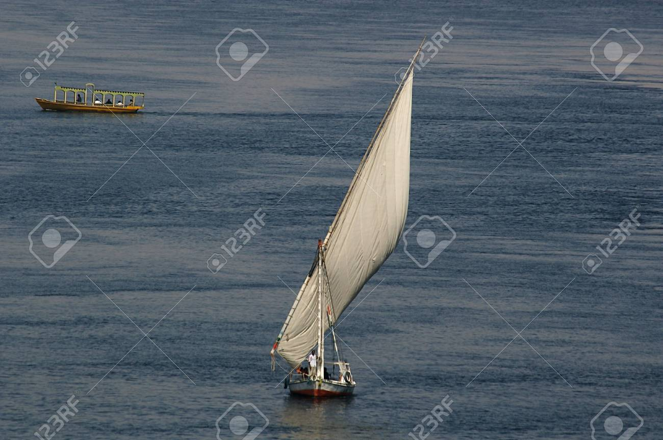 A Felucca on the nile in southern Egypt tourist town of aswan Stock Photo - 6113149
