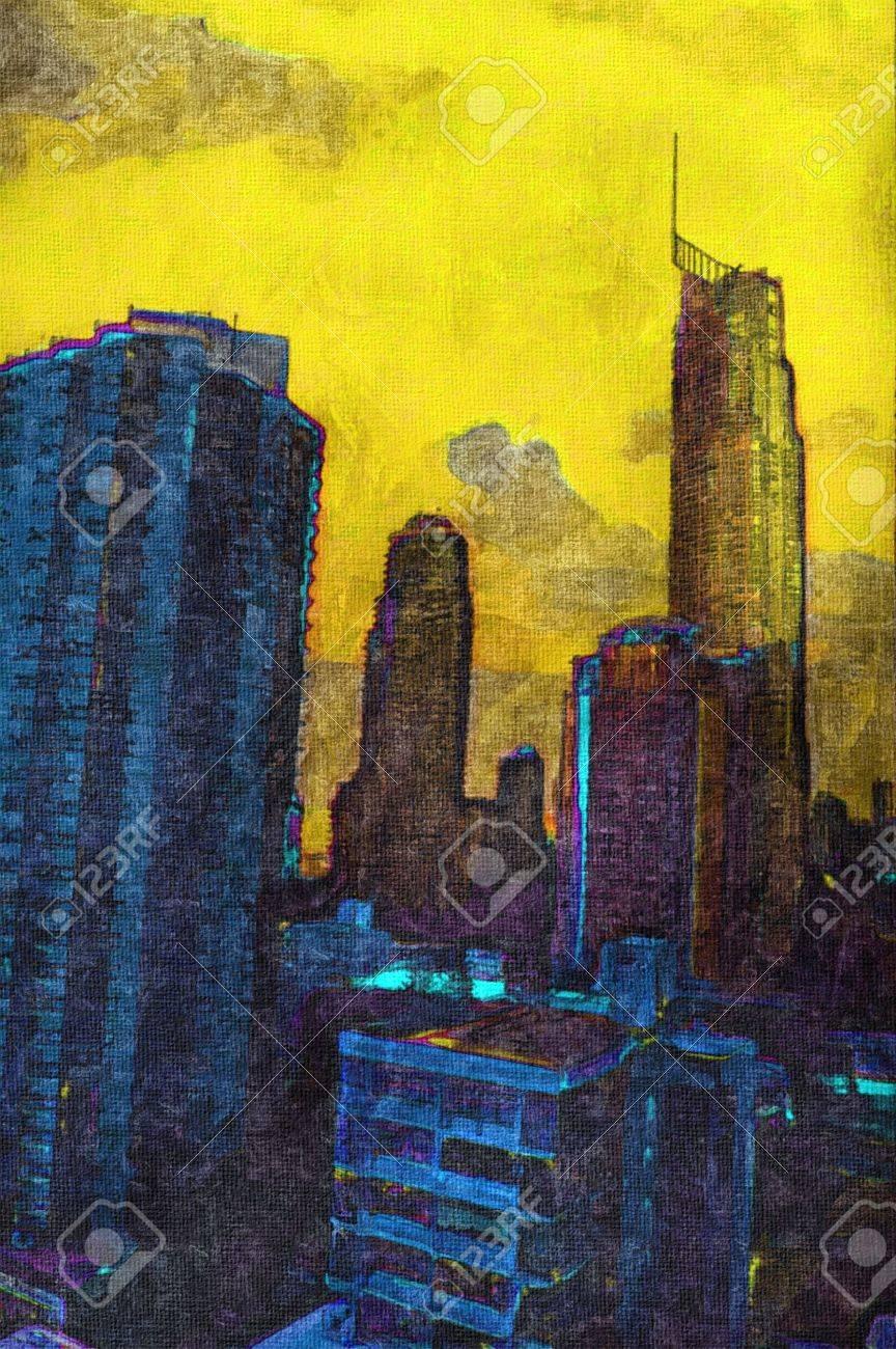 Pittura Ad Olio Di Città Irriconoscibile Edifici E Paesaggio Foto ...