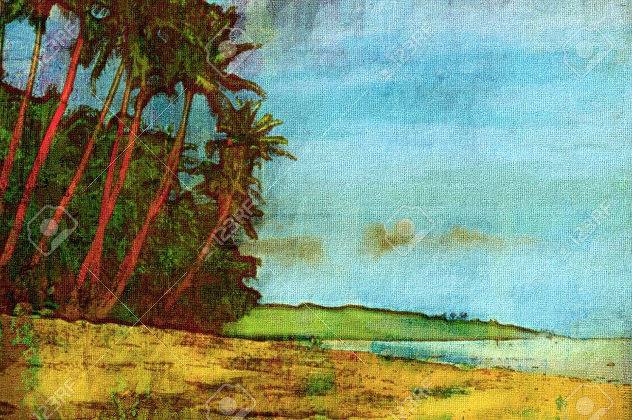 original oil painting of fiji island palm trees Stock Photo - 6997455