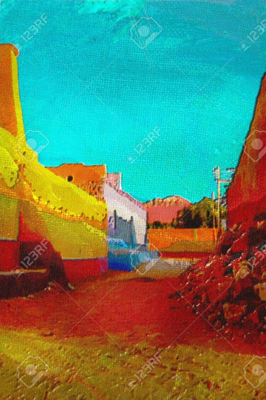 stock photo original oil painting of nubian village in bright santa fe colors - Santa Fe Colors