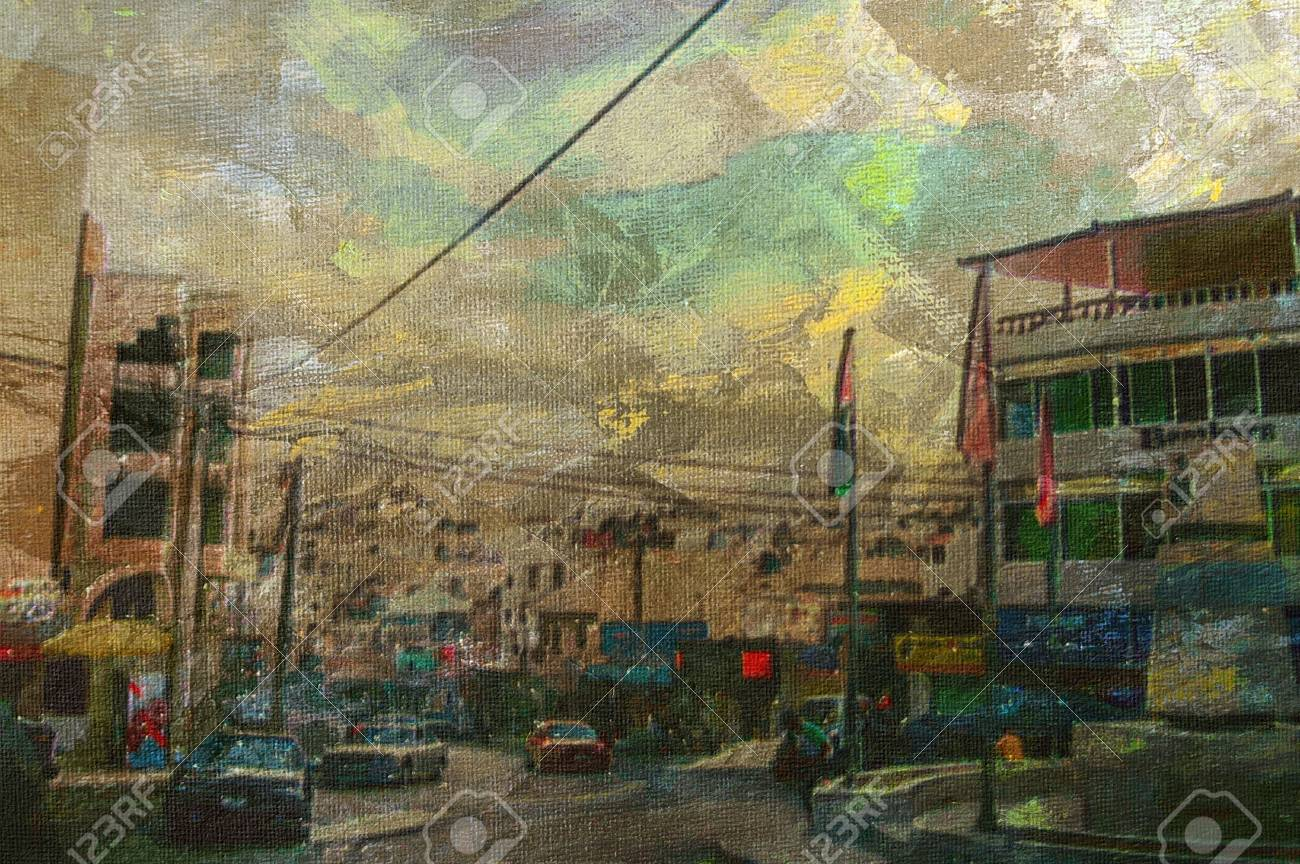 original oil painting of down town wadi musa Stock Photo - 7036839