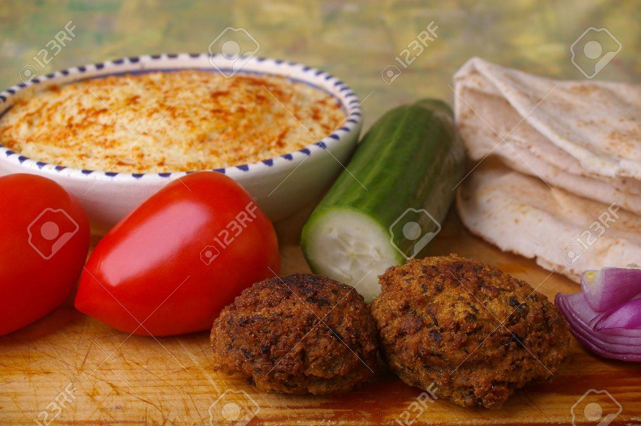 Traditional Egypt Food The Falafel And Ingredients For Pita Bread Stock Photo Picture And Royalty Free Image Image 7309132