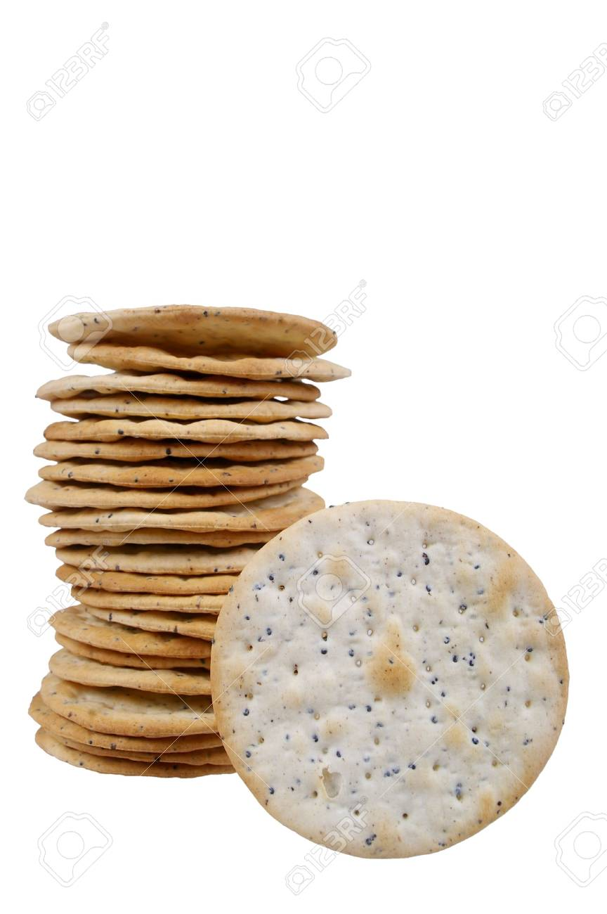 hors d'oeuvres cracker with cracked pepper isolated over white Stock Photo - 7549132