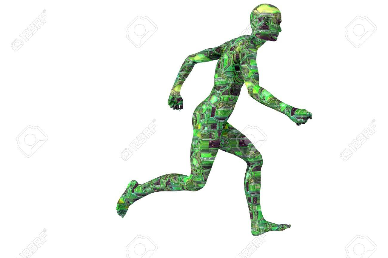 circuit man running technology concept render Stock Photo - 7855834