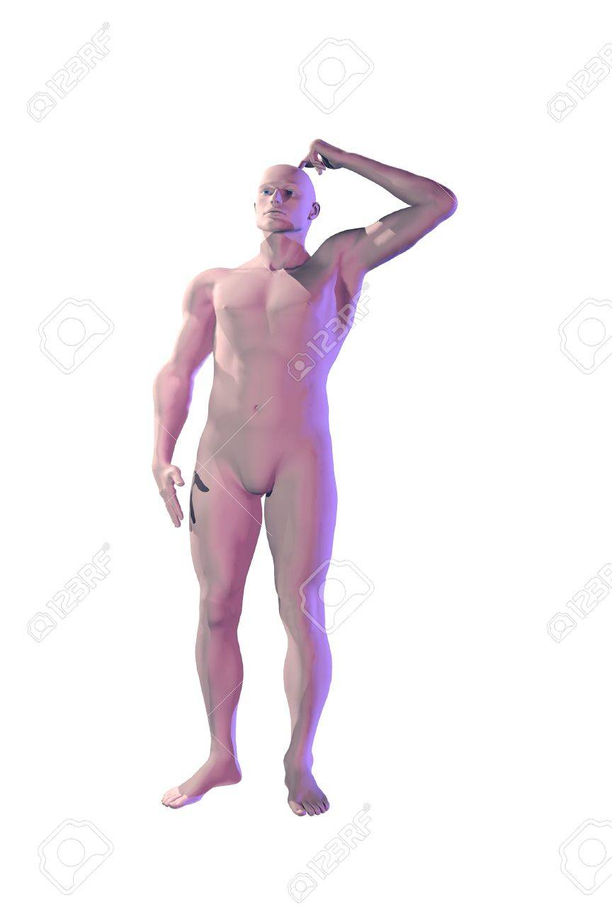 3d Mannequin dummy man scratching head concept image Stock Photo - 7862722