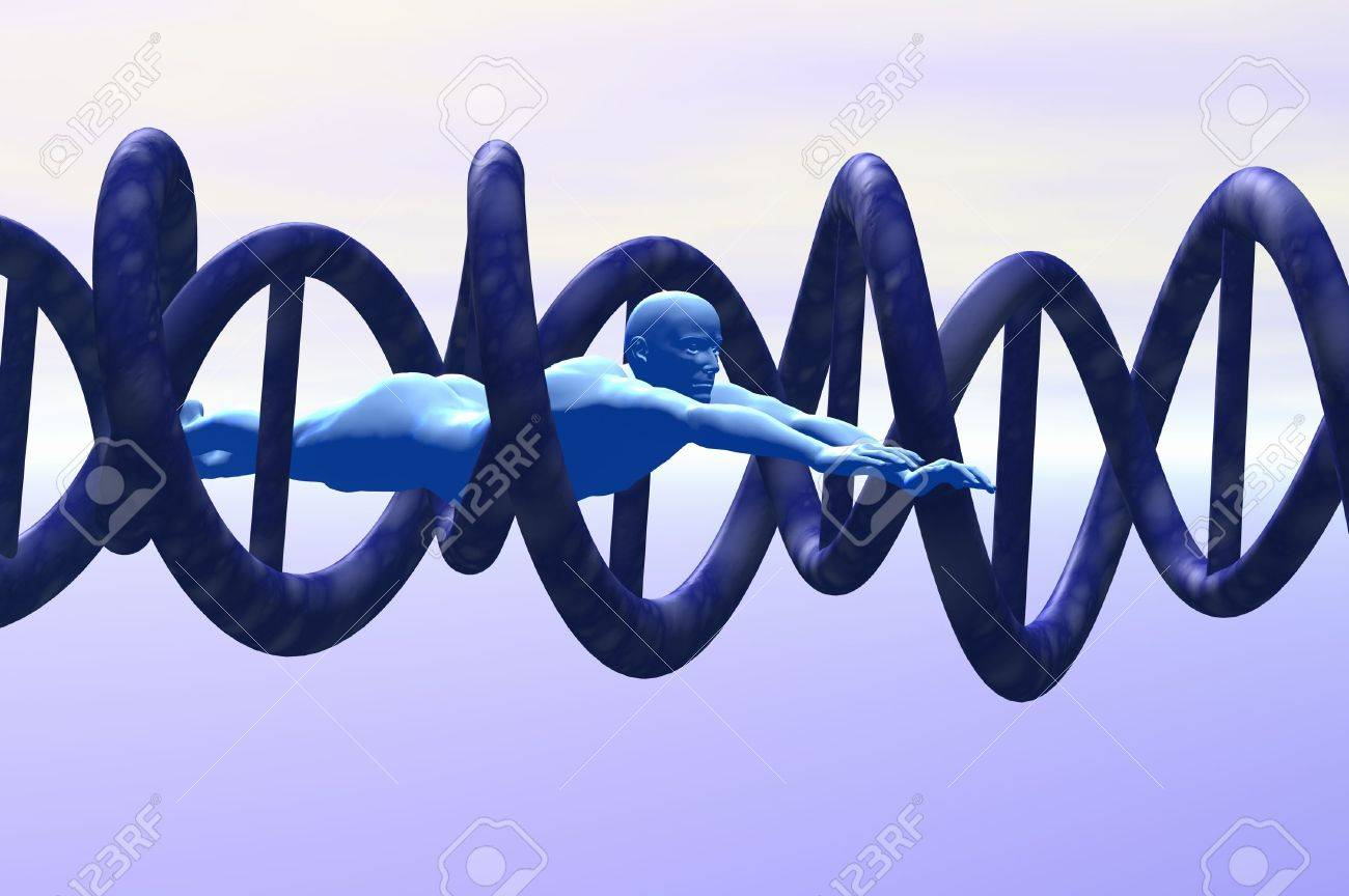 science man exploring dna concept 3d render Stock Photo - 8136150
