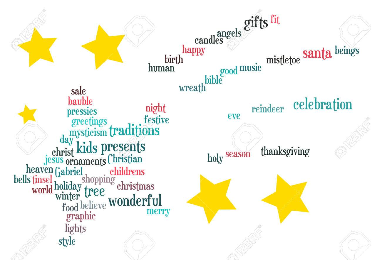 christmas star word cloud text abstract vector royalty free cliparts