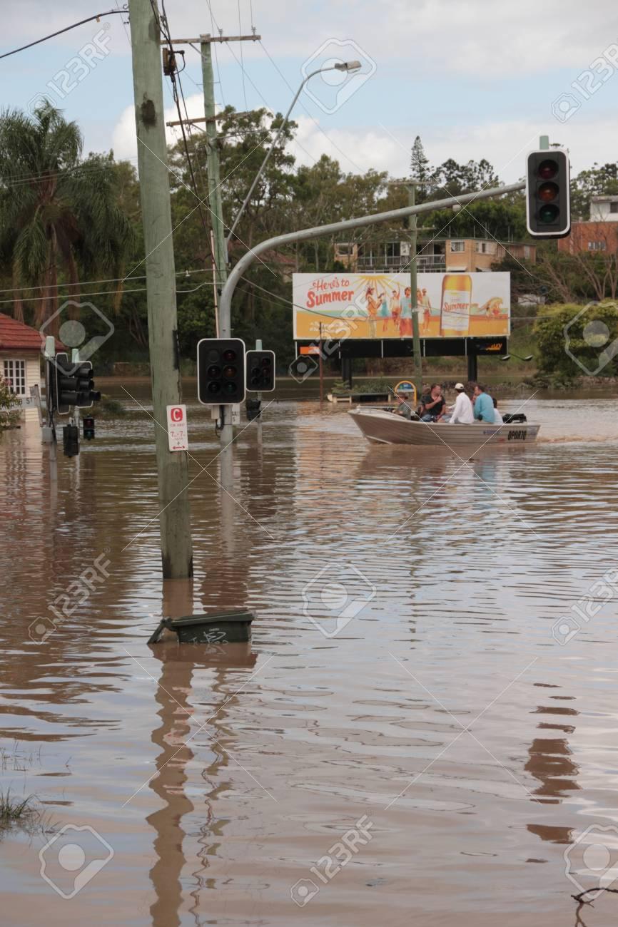 BRISBANE, AUSTRALIA - JAN 13 : Flood  Brisbane City  area Queensland declared natural disater January 13, 2011 in Brisbane, Australia  Stock Photo - 8607944