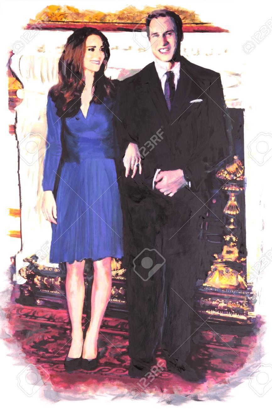 BRISBANE, AUSTRALIA - JAN 28 : Souvenir painting production of  Prince William and Kate Middleton engagement January 28, 2011 in Brisbane, Australia  Stock Photo - 8692768
