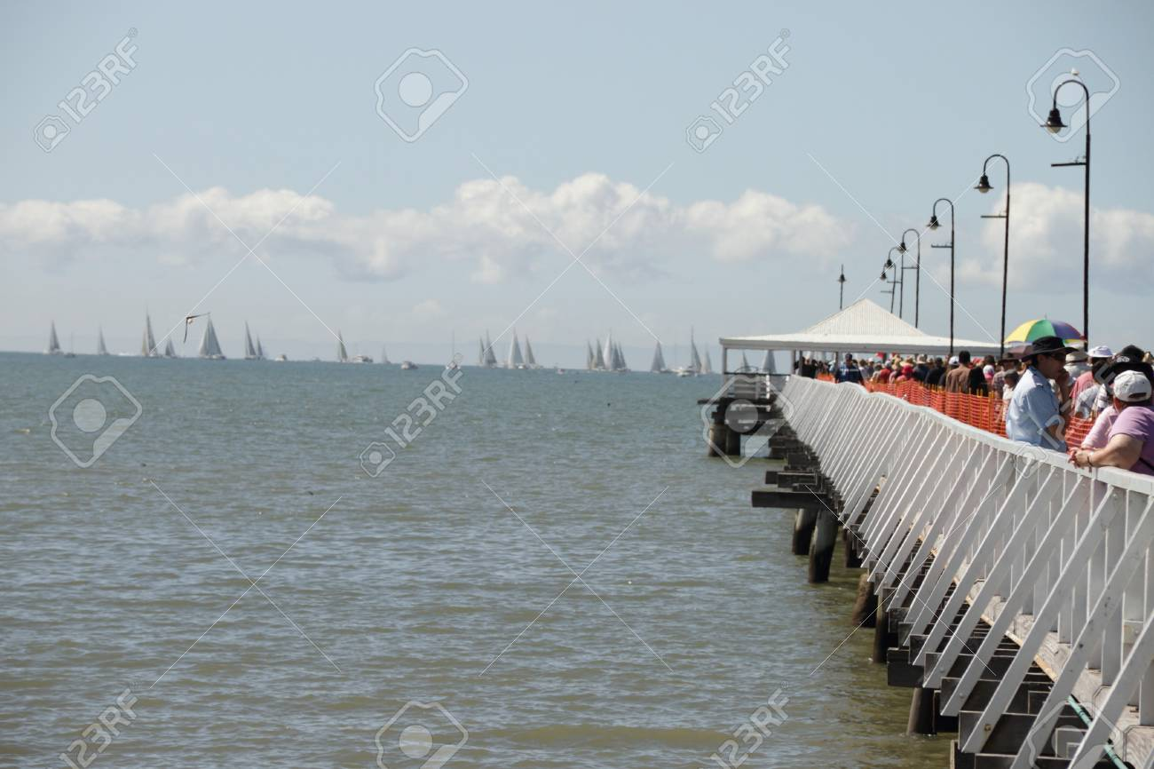 BRISBANE, AUSTRALIA - APR 22 : The Brisbane to Gladstone Yacht Race shows boats ready for start or Sandgate pier  April 22, 2011 in Brisbane, Australia  Stock Photo - 9386675