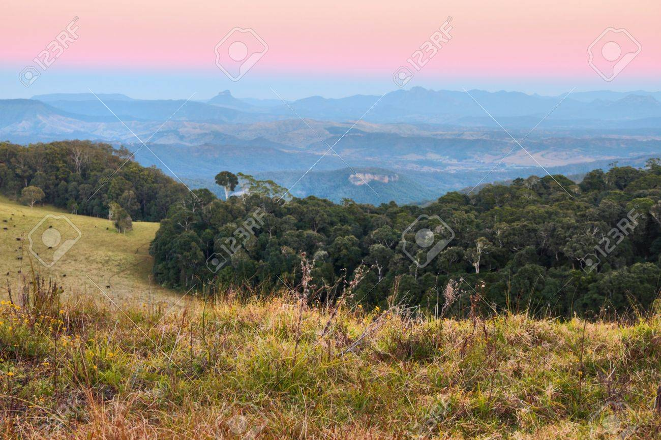 views of the border ranges on duck road lamington national park overlooking farmland showing typical australian bush background Stock Photo - 14391798
