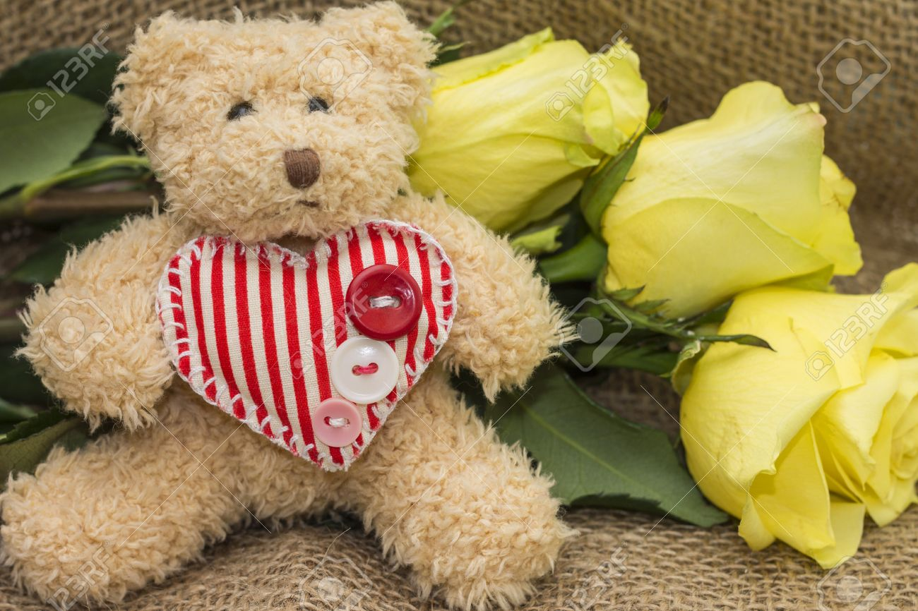 Gift card for birthday teddy bear and yellow roses stock photo gift card for birthday teddy bear and yellow roses stock photo 44197338 izmirmasajfo