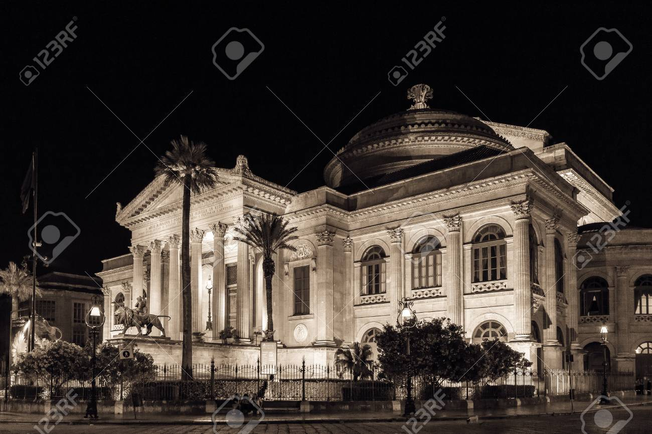 The Teatro Massimo, Opera House in Palermo at Night
