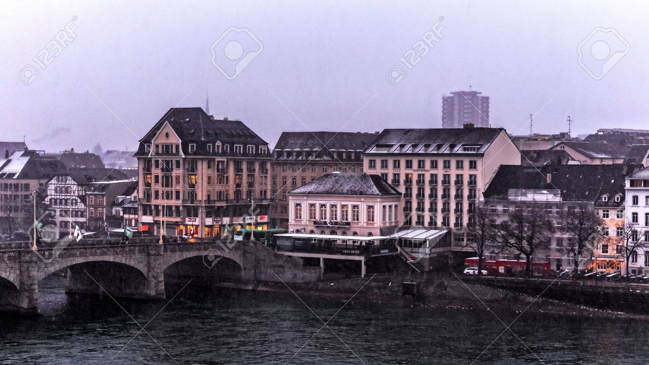 Water Front At The Rhine River In The Swiss City Of Basel - Swiss river to the rhine