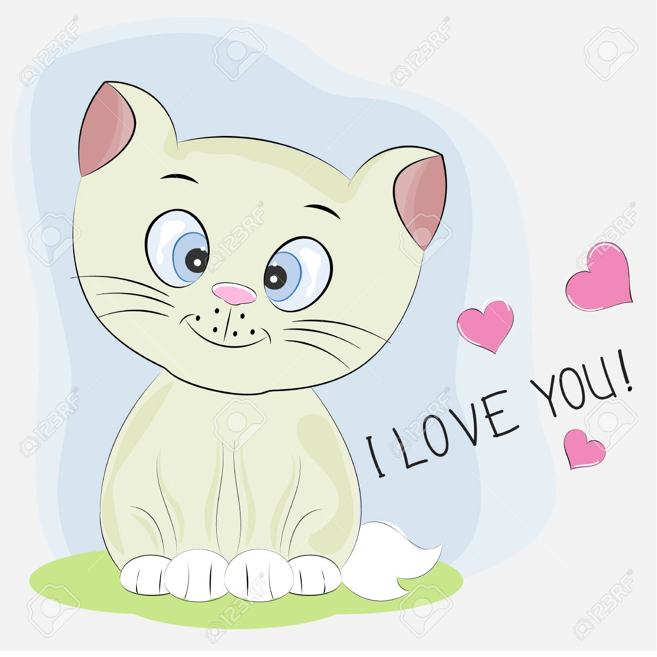cute cartoon kitty with lettering i love you graphics for t shirts