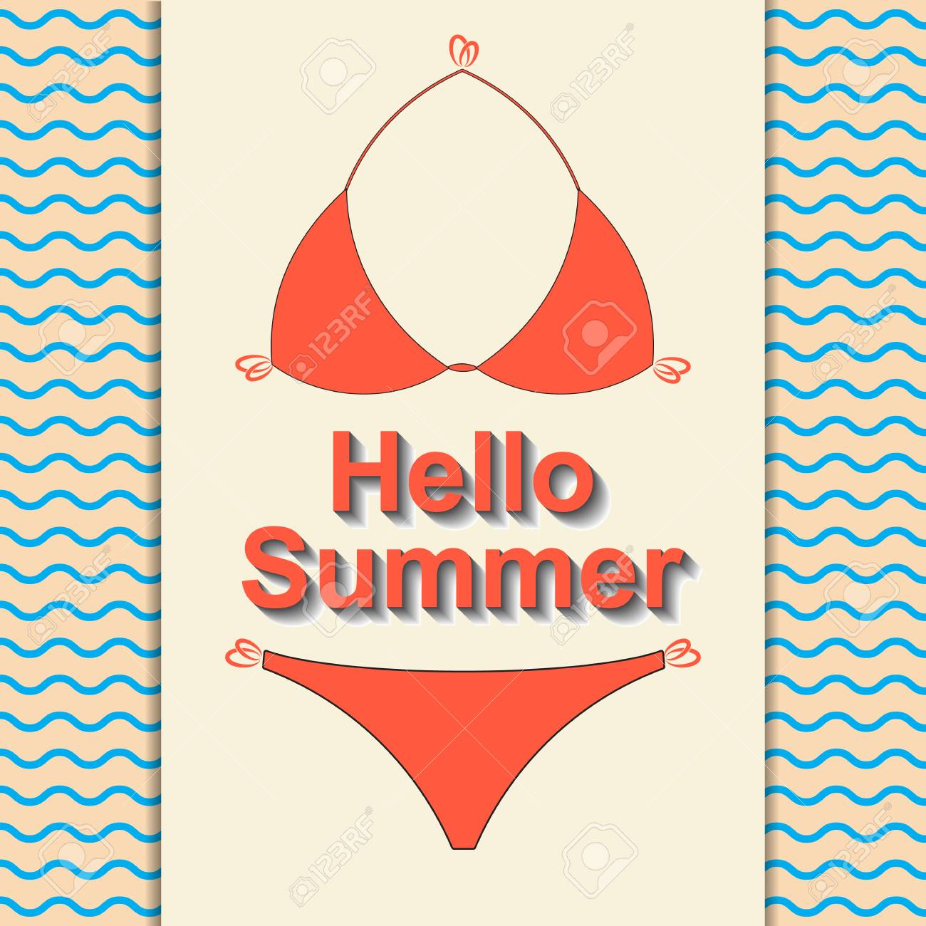 1bb1f9d88d Summertime concept. Hello summer travel. The trend calligraphy. Stylish red  Women s swimsuit on a light background