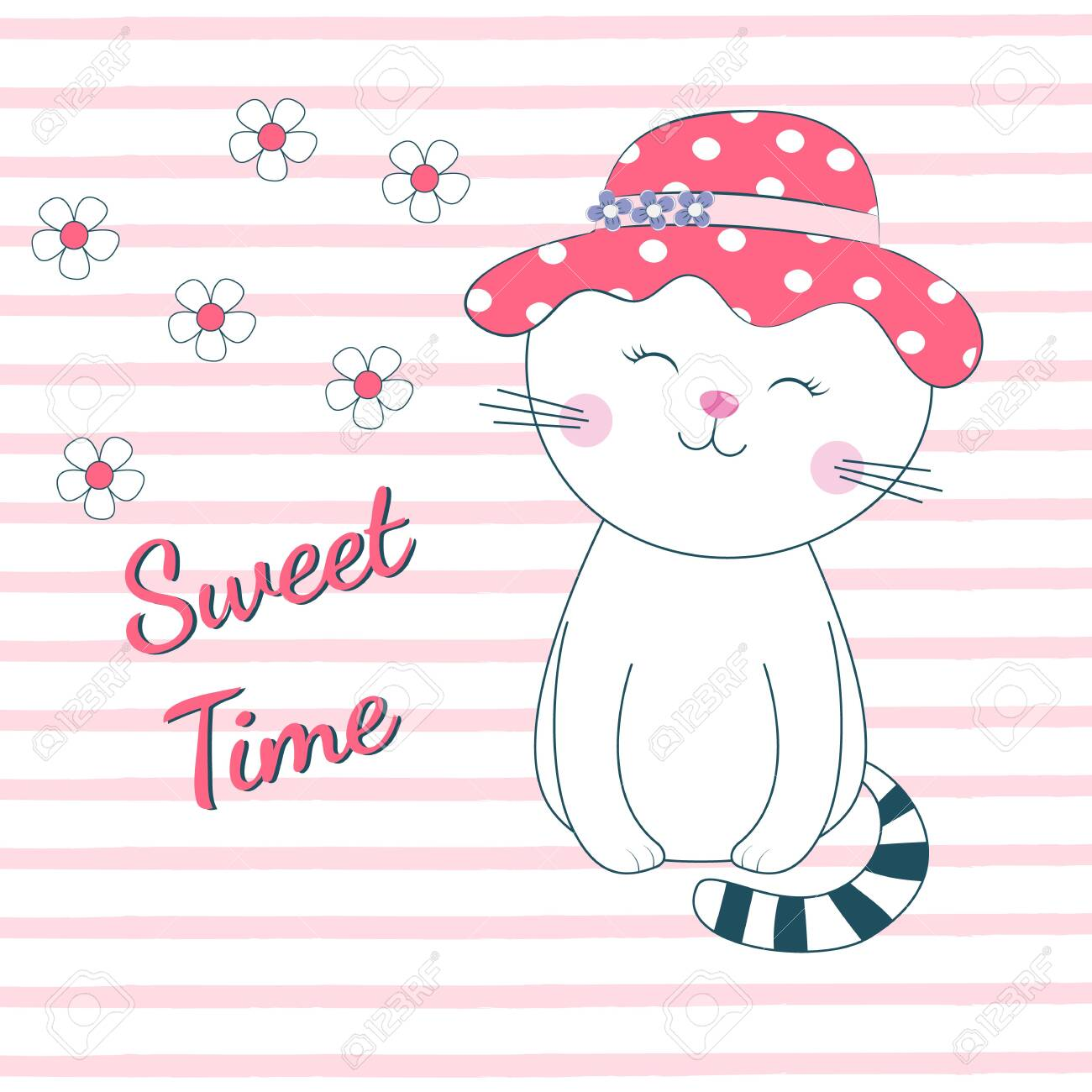 Beautiful sleeping cat girl with eyes closed dreams of love. The background is made in the style of pink stripes with white flowers. Drawing can be applied to children's t-shirts. - 123275082