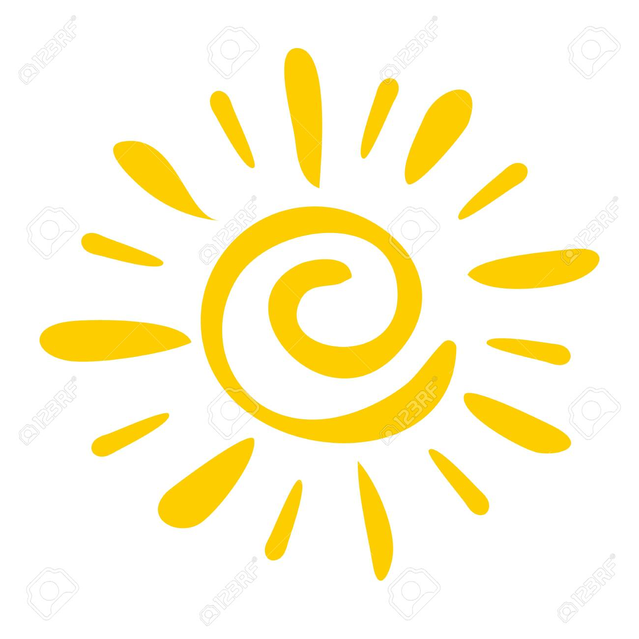 Hand drawn icon Sun isolated on a white background. - 129676666