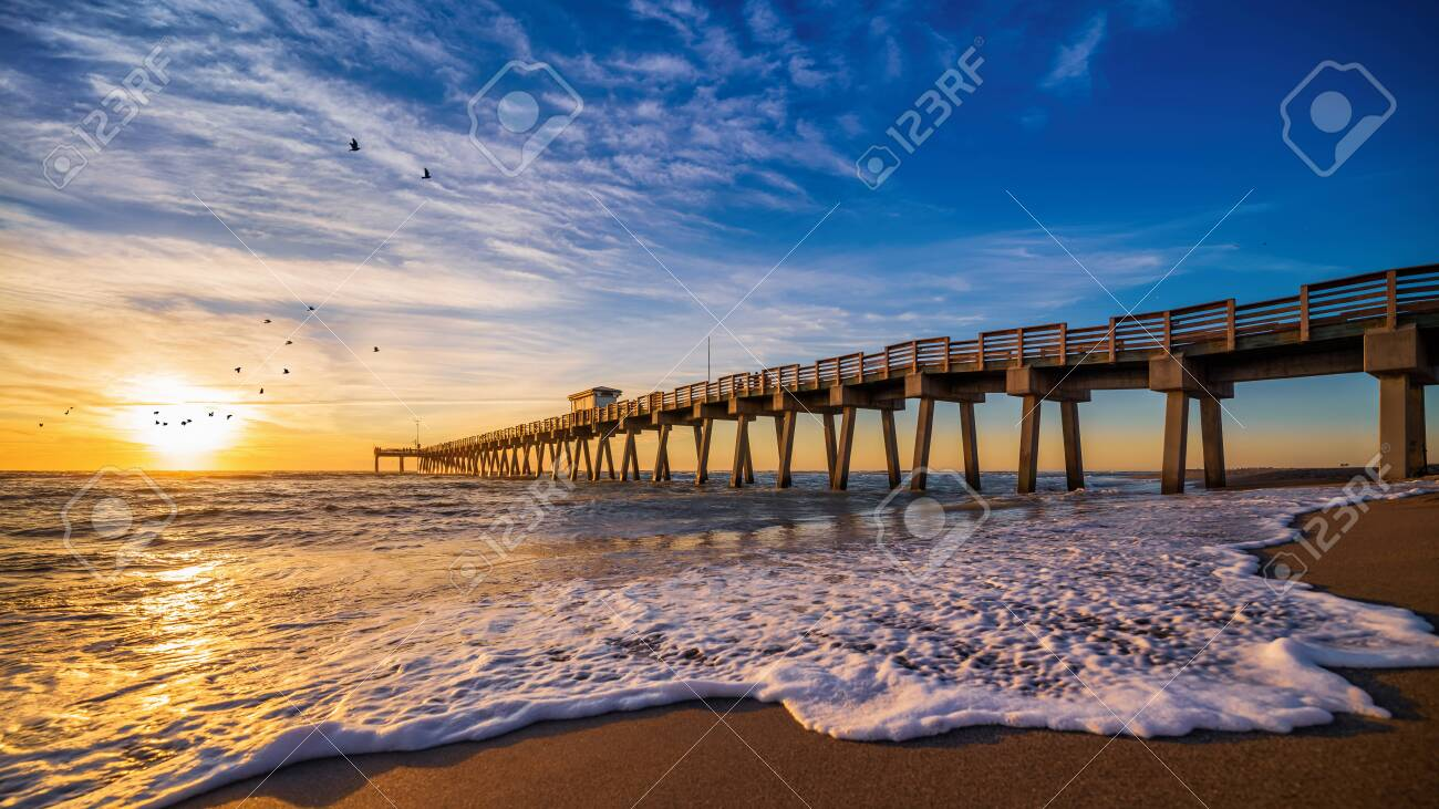 Sunset at the pier of venice, florida - 140801466